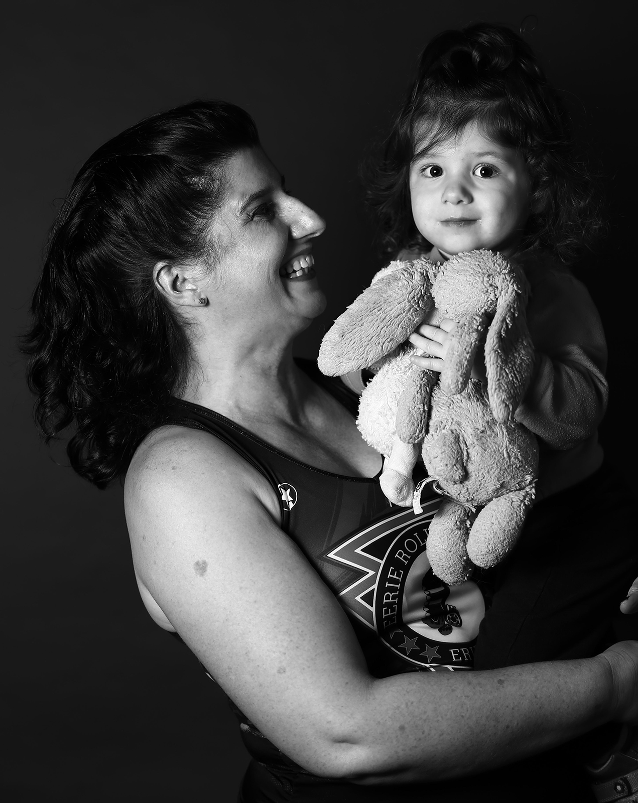 black and white portrait of mother and daughter in Erie, PA
