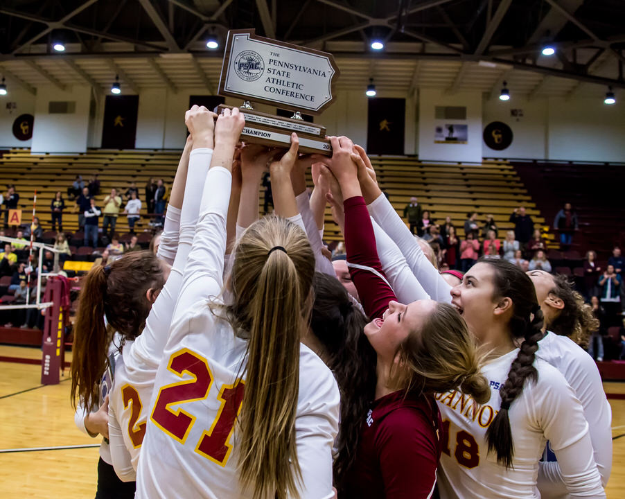 Gannon University's women's volleyball team with PSAC championship trophy