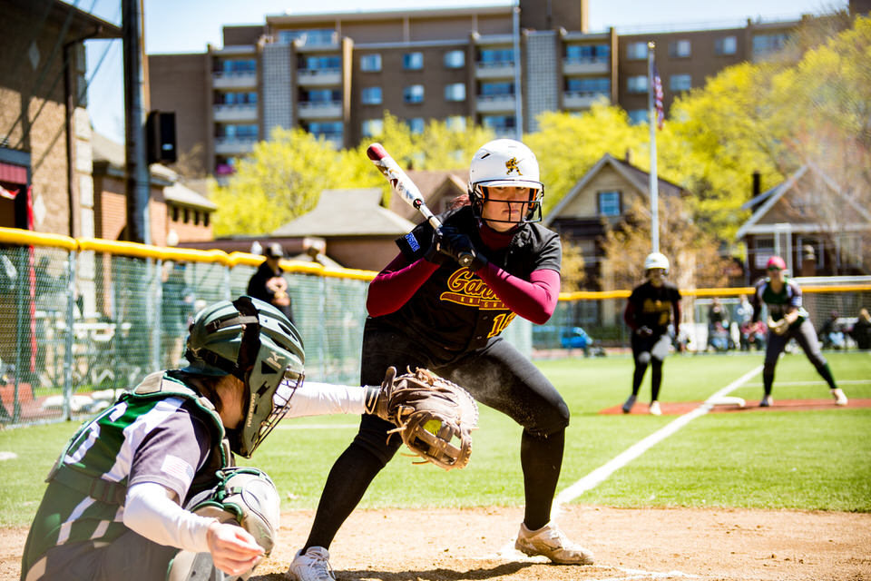 Gannon University's softball player watching the pitch