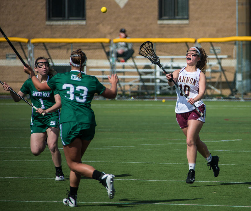Gannon University's women's lacrosse player shooting the ball