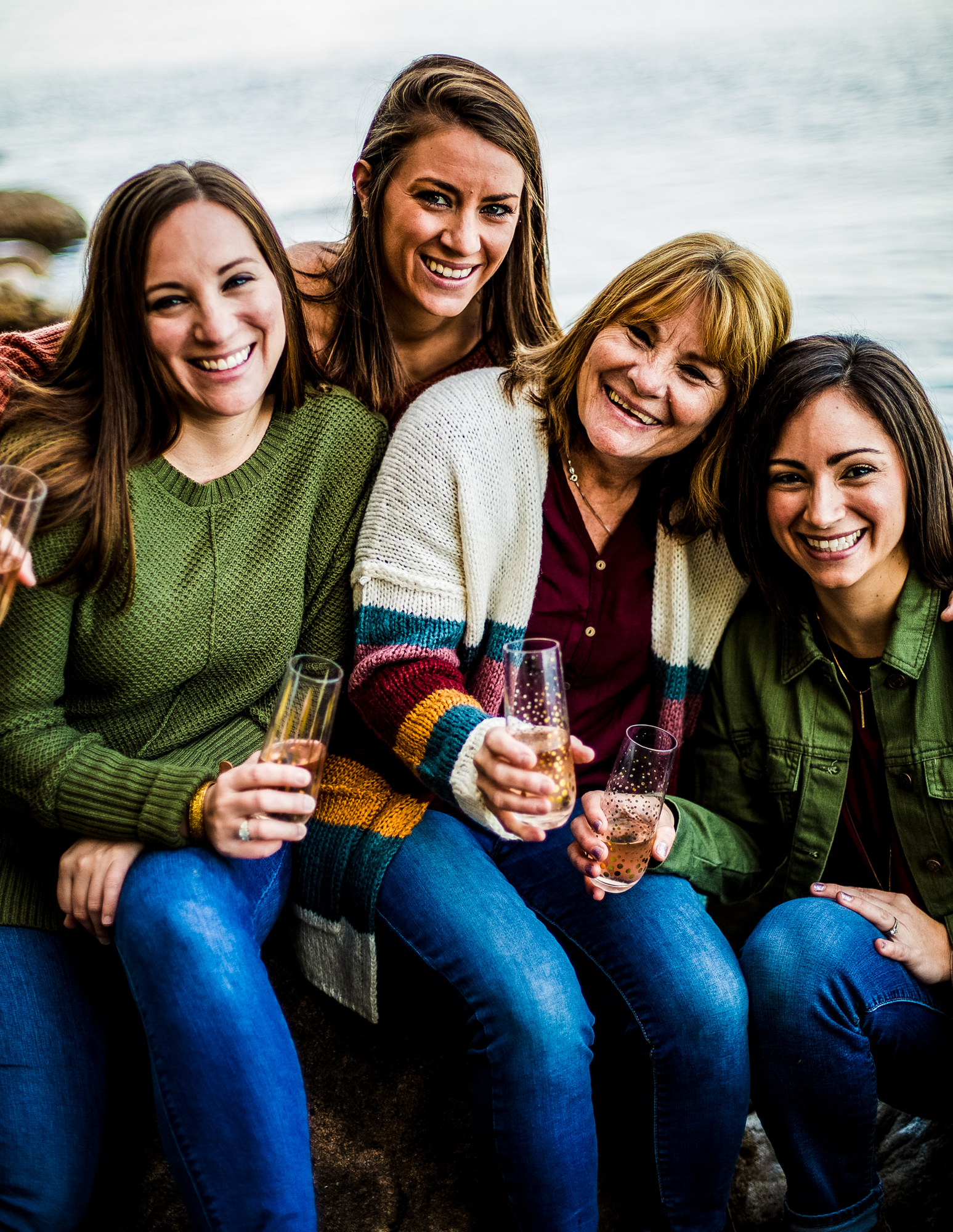 Mother and daughters pose together for mom's 60th birthday cake smash in North East, PA